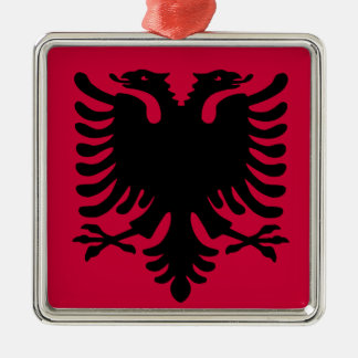 Albanian Flag Silver-Colored Square Decoration
