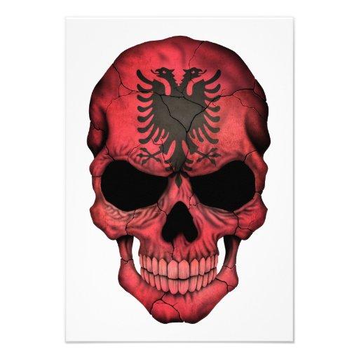 Albanian Flag Skull Invites