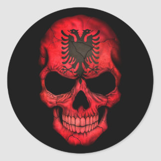 Albanian Flag Skull on Black Classic Round Sticker