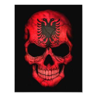 Albanian Flag Skull on Black Custom Announcements