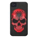 Albanian Flag Skull on Steel Mesh Graphic Case-Mate iPhone 4 Case