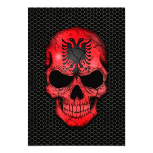 Albanian Flag Skull on Steel Mesh Graphic Custom Invitations