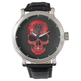 Albanian Flag Skull on Steel Mesh Graphic Watch