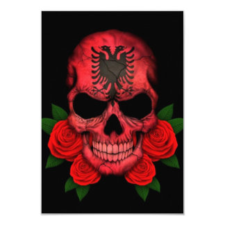 "Albanian Flag Skull with Red Roses 3.5"" X 5"" Invitation Card"