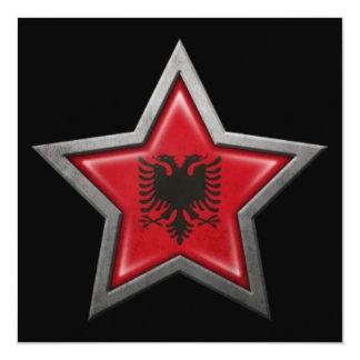 Albanian Flag Star on Black Announcement