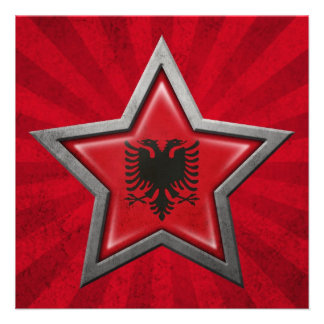 Albanian Flag Star with Rays of Light Invites