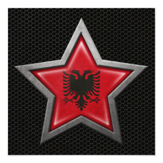 "Albanian Flag Star with Steel Mesh Effect 5.25"" Square Invitation Card"