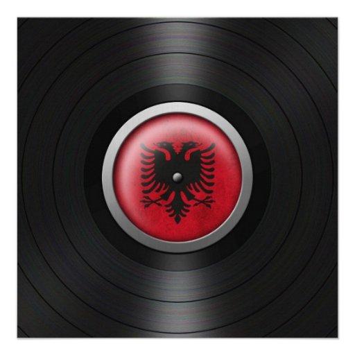 Albanian Flag Vinyl Record Album Graphic Custom Invites