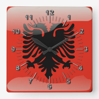 Albanian glossy flag square wall clock