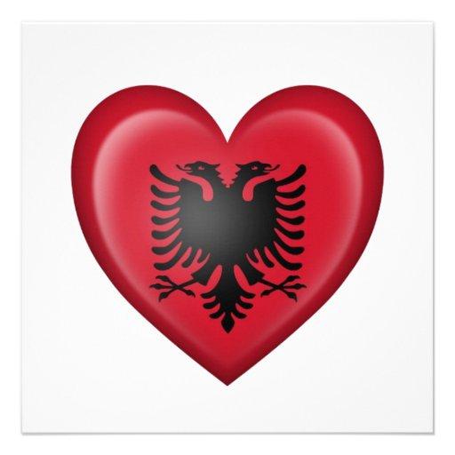 Albanian Heart Flag on White Announcement