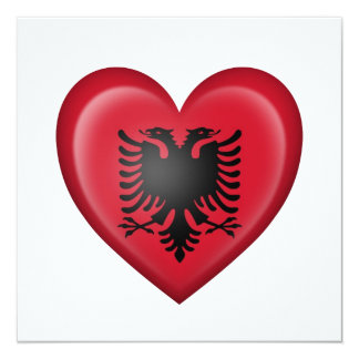 "Albanian Heart Flag on White 5.25"" Square Invitation Card"