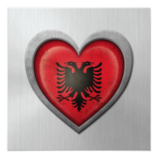 "Albanian Heart Flag Stainless Steel Effect 5.25"" Square Invitation Card"