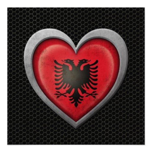 Albanian Heart Flag Steel Mesh Effect Custom Invitation