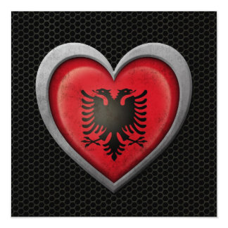 "Albanian Heart Flag Steel Mesh Effect 5.25"" Square Invitation Card"