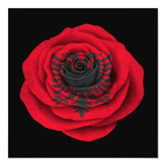 Albanian Rose Flag on Black 13 Cm X 13 Cm Square Invitation Card