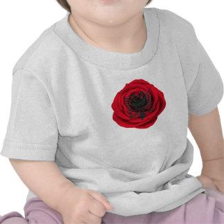 Albanian Rose Flag on Black T Shirt