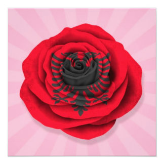 Albanian Rose Flag on Pink 5.25x5.25 Square Paper Invitation Card