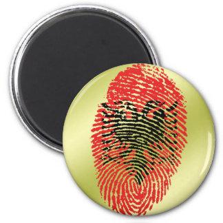Albanian touch fingerprint flag 6 cm round magnet