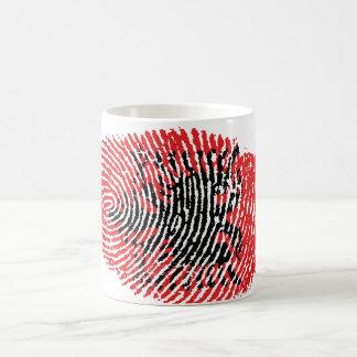 Albanian touch fingerprint flag coffee mug
