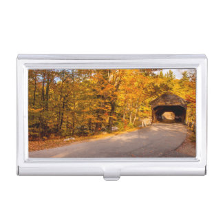 Albany Covered Bridge Near Conway Business Card Case