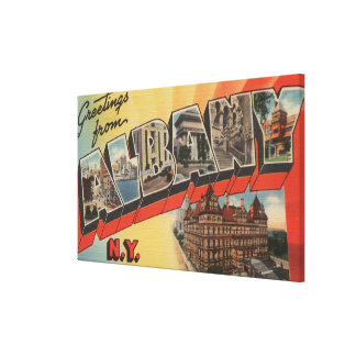 Albany, New York - Large Letter Scenes Gallery Wrap Canvas