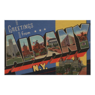 Albany, New York - Large Letter Scenes Poster