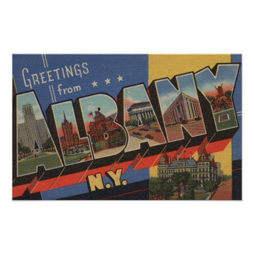 Albany, New York - Large Letter Scenes Print