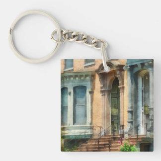 Albany NY Brownstone Double-Sided Square Acrylic Keychain