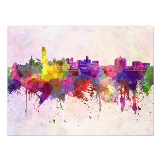 Albany skyline in watercolor background art photo