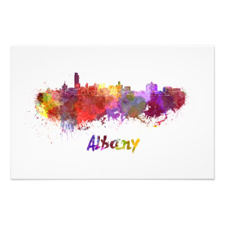 Albany skyline in watercolor photo