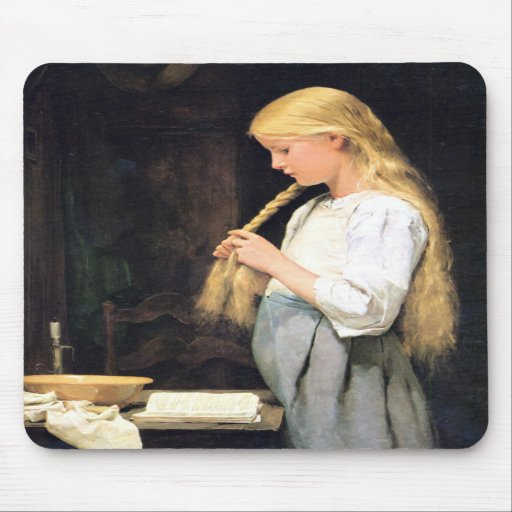 Albert Anker, Mädchen die Haare flechtend Mouse Pad
