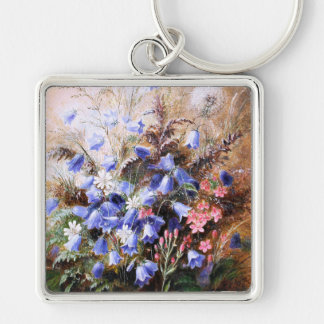 Albert Dürer Lucas: Harebells and Centaury Silver-Colored Square Key Ring