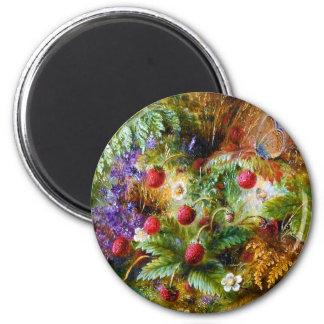 Albert Dürer Lucas: Wild Strawberries & Butterfly 6 Cm Round Magnet