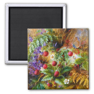 Albert Dürer Lucas: Wild Strawberries & Butterfly Square Magnet