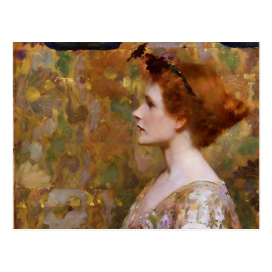 Albert Herter Woman with Red Hair Postcard