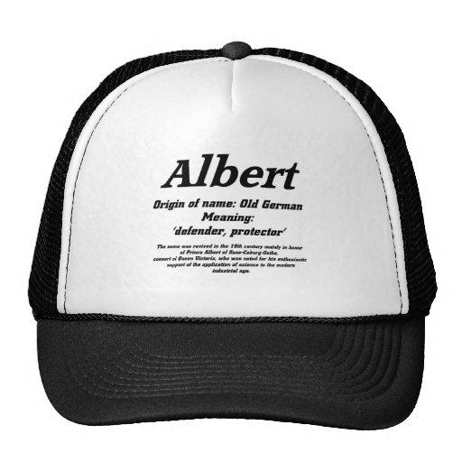 Albert. Name meaning cap Hat