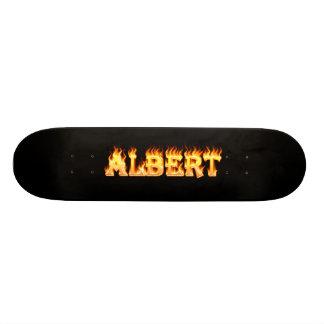 Albert skateboard fire and flames design