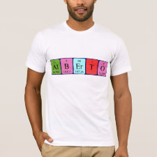 Shirt featuring the name Alberto spelled out in symbols of the chemical elements