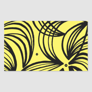 Albin Abstract Expression Yellow Black Rectangular Sticker