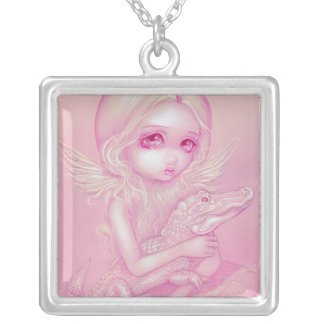 Albino Alligator Angel NECKLACE fairy gothic
