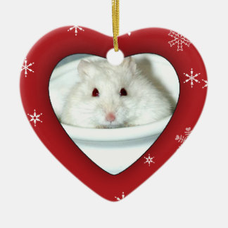 Albino Hamster Photo Christmas Ornament