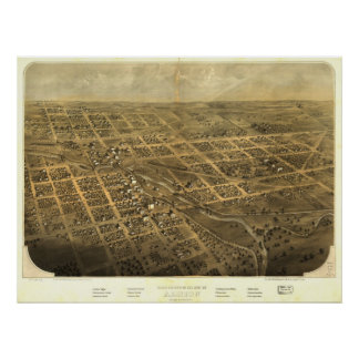 Albion Michigan 1868 Antique Panoramic Map Poster