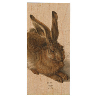 ALBRECHT DÜRER - Young hare 1502 Wood USB 2.0 Flash Drive