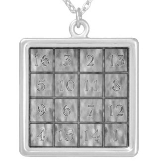 Albrecht Dürer's Magic Square Silver Plated Necklace