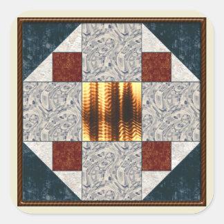 Album Block Patch in Green & Rust Square Sticker