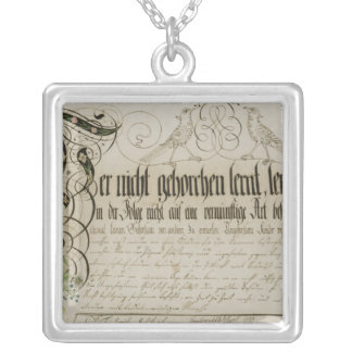 Album sheet, 1789 silver plated necklace