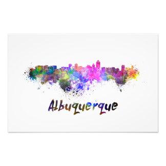 Albuquerque skyline in watercolor