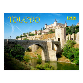Alcantara Bridge and Alcazar in Toledo, Spain Postcard