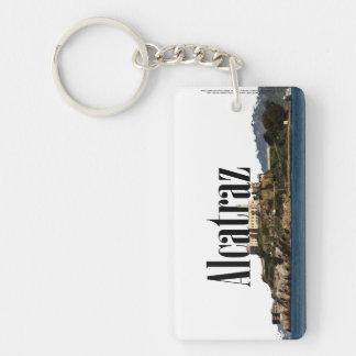 """Alcatraz, CA Skyline with """"Alcatraz"""" in the sky Double-Sided Rectangular Acrylic Keychain"""
