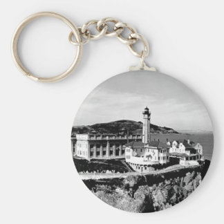 Alcatraz Island Lighthouse Basic Round Button Key Ring